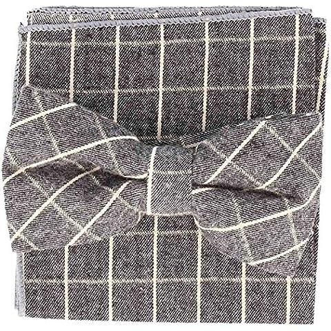 Snobbop Set Duro Papillon & Fazzoletto grigio a righe di cotone