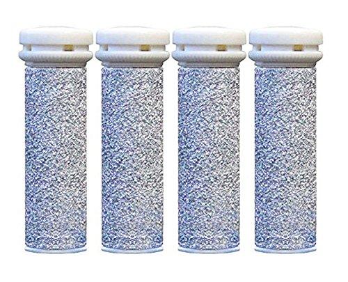 4x SUPER Grobe Silber Mikro-Mineral Ersatzrollen für die Emjoi Micro Pedi Replacement Rollers Compatible With Emjoi Micro Pedi Emjoi Rollen