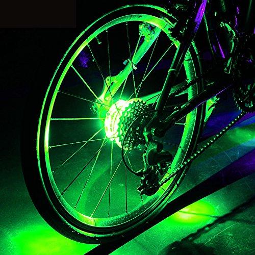 Wasserdichte LED Bike Wheel Lights, Bodecin Cool Colorful Bike Warning Light, 3 Modi Radfahren Bike Speichen Licht Safety Light, Magic Dekoration Licht, Fahrrad Zubehör Beleuchtung(Grün)