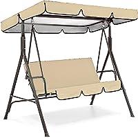 2 Seater Canopy Swing Covers Waterproof Heavy Duty Garden Swing Cover 180x125x170cm Outdoor Garden Hammock Cover with Zips Beige