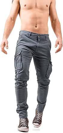 Instinct I Pantaloni Cargo Uomo in Cotone, Pantaloni con Tasche Laterali Uomo, Pantalone Tasconato Uomo Multitasche Cargo Uomo Slim Fit W9