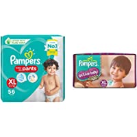 Pampers Diaper Pants, Xl, 56 Count&Pampers Active Baby Diapers, Xl, 56 Count