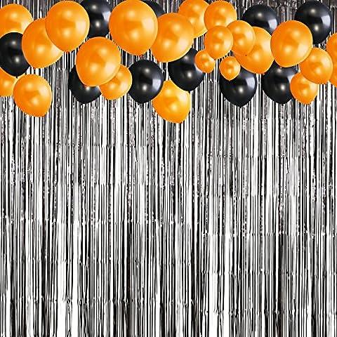 Shappy Halloween Rideau Tinsel Noire Contexte de Porte-Photo avec 20 Pièces Ballons Noirs et Orange pour Halloween Décoration