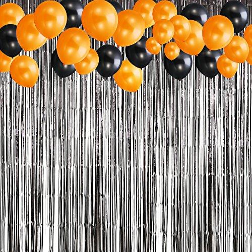 Schwarze Foil Fringe Foto Hintergrund mit 20 Stück Schwarz und Orange Ballon für Party (Hintergrund Foto Halloween)