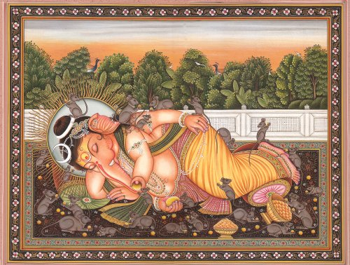 The Compassionate Lord Ganesh - Water Color Painting on Paper - Artist:Kailash Raj