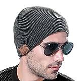 VLOXO Chapeau Musique Bonnet Cap Mains-Libre Casque d'écoute Bluetooth 4.2 sans Fil Tricoté Chaud Hiver Microphone Intégré Haut-parleurs Stéréo à Tous Smartphones et Appareils Intelligents Gris