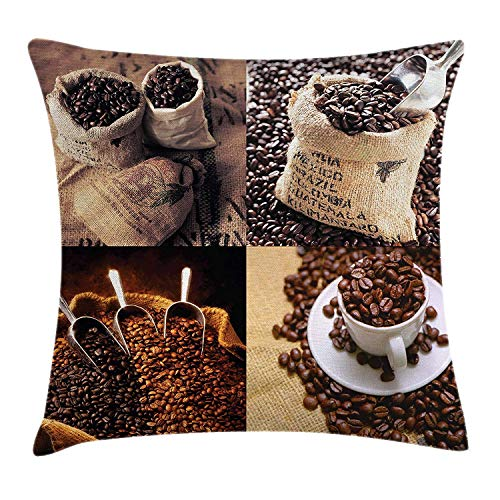 LULABE Coffee Throw Pillow Cushion Cover, Rustic Collage of Images Showing Different Kinds of Roasted Grains, Decorative Square Accent Pillow Case, 18 X 18 inches, Brown Dark and Sand Brown