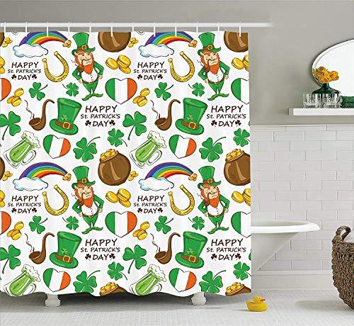 Nyngei St. Patrick's Day Duschvorhang Irish Party Muster Bier Kobold Flagge Herzen Regenbogen Gold und Shamrock Stoff Badezimmer Dekor Set mit180CM Multicolor