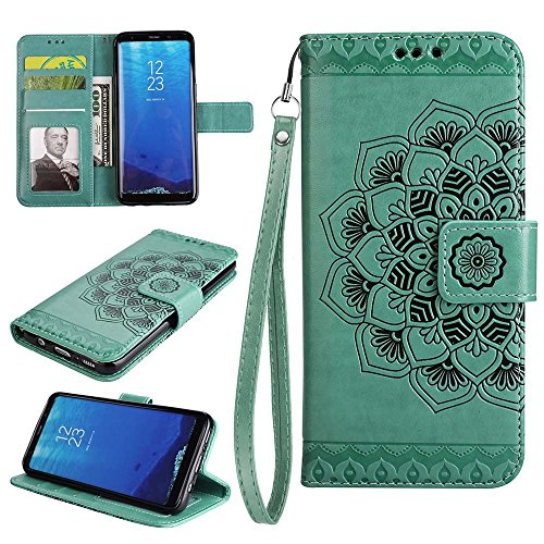 In Galaxy Carta Custodia E Plus Portafoglio Motivo Pu Rilievo Plus Con Per In Fessura In Tpu Custodia eu Samsung S8 nero Custodia S8 Esstore Pelle Verde Galaxy Per zqHxwd4