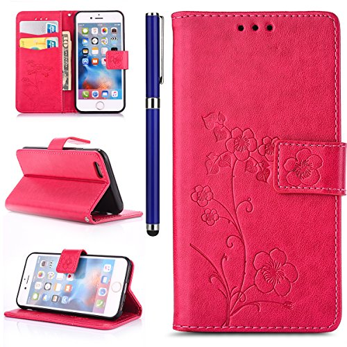 EUWLY Portafoglio Cover per iPhone 5S/iPhone SE, Retro Luxury Pure Color Flip Case Cover per iPhone 5S/iPhone SE in Pelle PU Custodia Cover [Shock-Absorption] Protettiva Portafoglio Cover in PU Leathe Fiore Foglie,Rosa Caldo