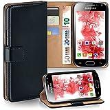 MoEx Samsung Galaxy Ace Plus | Hülle Schwarz mit Karten-Fach [OneFlow 360° Book Klapp-Hülle] Handytasche Kunst-Leder Handyhülle für Samsung Galaxy Ace Plus Case Flip Cover Schutzhülle Tasche