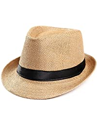 a700189a Fedora Trilby Hats, Beach Sun Straw Hat with Band, Womens Mens Panama Caps,
