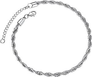 ChainsPro Braccialetto cavigliera corda per donna, cavigliera braccialetto moda cavigliera catena piede catena, gioielli piede, regalo per lei, 3 mm, 23 cm + 5 cm (con confezione regalo)