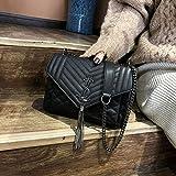 WOAIRAN Umhängetasche Frauen Handtasche Umhängetasche Mode Vintage Damen Einfache Freizeit Quaste Kette Crossbody Schwarz