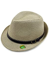 LOCOMO Straw Breathable Summer Beach Sun Shade Fedora Cuban FFH281BEI