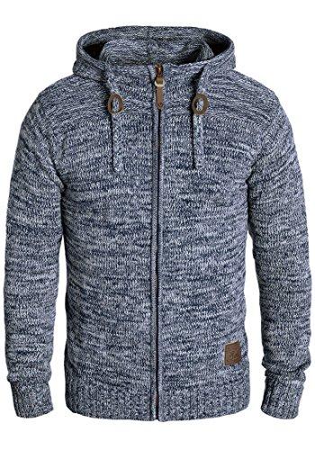 SOLID Pancras Herren Zip-Hoodie Strickjacke Cardigan mit Kapuze aus 100% Baumwolle Meliert, Größe:L, Farbe:Insignia Blue (1991)