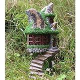 Ornamento decorativo de jardín con energía solar con hadas de casa del árbol que cambia de color hadas Casa en el árbol