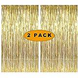 Sunshine smile Gold Metallic Tinsel Vorhänge,2 Stück Folie Fringe Shimmer Vorhang,Quaste Folie Vorhang Metallic,Folie Fransen Vorhänge Tür,Lametta Vorhang dekorative