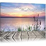 Steg mit Ausblick aufs Meer Format: 80x60 auf Leinwand, XXL riesige Bilder fertig gerahmt mit Keilrahmen, Kunstdruck auf Wandbild mit Rahmen, günstiger als Gemälde oder Ölbild, kein Poster oder Plakat