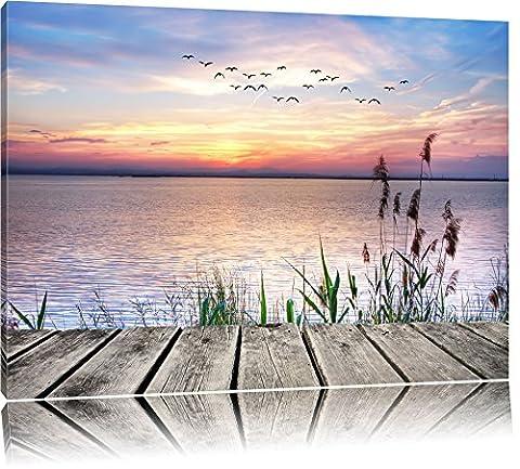Jetty avec vue sur mer Format: toile 80x60auf, XXL énormes Photos complètement encadrés par la civière, l'impression de l'image Art mural avec cadre, moins cher que peintures à l'huile et de l'image, aucune affiche ou poster