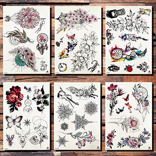 Tattoo Aufkleber Wasserfest Mode Blume Totem Traumfänger Schmetterling Temporäre Tätowierung Aufkleber Anhänger Puppe Aquarell Tattoos Body Art Fake Tattoo (Kostüm Für Papier Puppen)