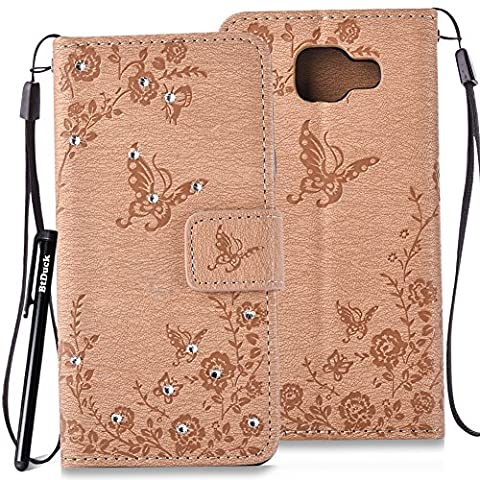 BtDuck Leather Case for Samsung Galaxy A3 2016 SM - A310 inch Stand Embossed Brown Butterfly Rose Foliage Leaves Phone Protector PU Leather Flip Folio Bling Bling Cover Anti-slip Skin Outdoor Protection Simple Strict Shockproof Heavy Duty Robust Bumper Case Shell with Stander Oyster Card ( Travel Card Bus Pass)Holder Slots Pocket Kickstand Function Magnetic Closure Sparkling Rhinestones + 1 * Black Stylus Pen Black