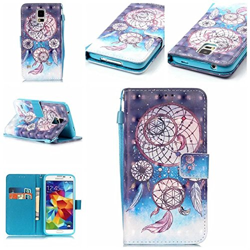 Qiaogle Telefon Case - PU Leder Wallet Schutzhülle Case für Apple iPhone 5 / 5G / 5S / 5SE (4.0 Zoll) - YB16 / Dream Catcher + Colorful Halo (Halo 4 Wallet)
