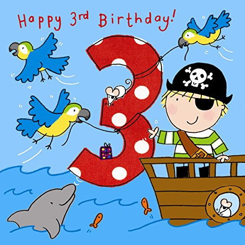 Twizler 3rd Birthday Card For Boy With Pirate, Parrots And