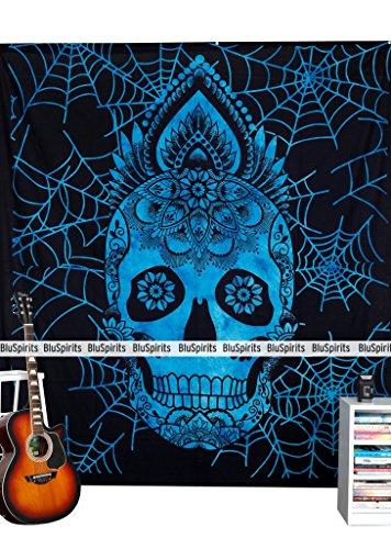 tlichen Reihe von Wandteppichen von, schönen Mandala Wand hangimgs Queen Skull Halloween Blue Blau ()