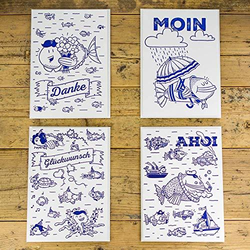 Falt-vier (AHOI MARIE® Maritimes Grußkarten Set - 4 Fische Klappkarten Handgedruckt mit Umschlag auf Design Papier - DIN B6 176x125mm)
