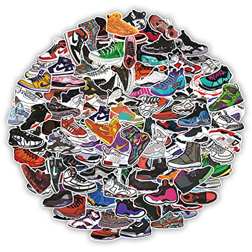 Aufkleber Cool [100-PCS], Q-Window Vinyl Pop Graffiti Basketball Schuhe Muster Stickers Aufkleber für Motorrad Fahrrad PS4 Laptop PC Kinder Bücher Skateboard Gepäck Stoßfänger Patches Snowboard IPhone Macbook Auto Xbox One Nintendo Schalter Bombe Aufkleber