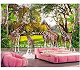 Customphoto3dwallpaper Animal World Giraffenfamilie und WaldkinderRoomHome Decor3d Wall Muralswallpaper für Wand, 400cmX280cm