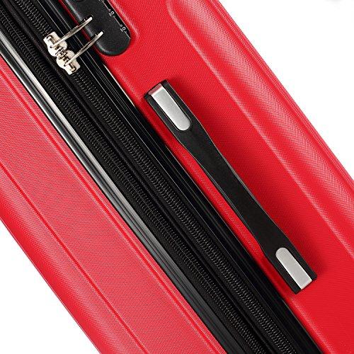 Zwillingsrollen 2050 Hartschale Trolley Koffer Reisekoffer in M-L-XL-Set in 12 Farben (M, Rot) - 5