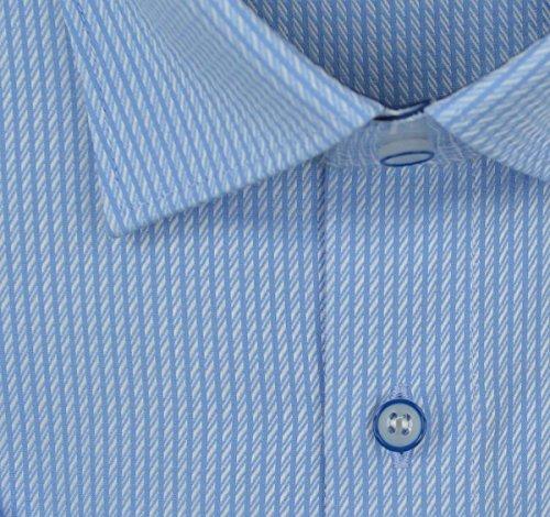 Marvelis Modern Fit kurzarm Hemd bleu strukturiert Bleu