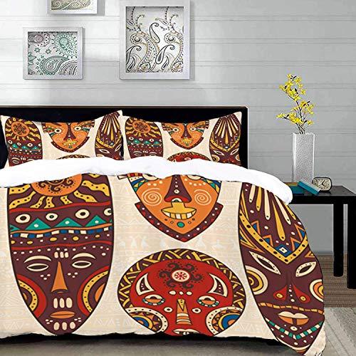 Yaoni Bettwäsche-Set, Mikrofaser,Tiki Bar, Ative Mask Designs afrikanischen Aborigine Kunst Muster kulturellen ethnischen Print, blau schwarz grau, 1 Bettbezug 200 x 200cm + 2 Kopfkissenbezug 80x80cm