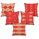Aart Argyle Printed Red Cushion Covers 16x16 Set Of 5