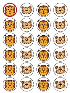 "X24 1.5"" Cartoon Tiger Face Cup Cake Toppers Decorations on Edible Rice Paper"