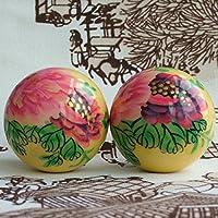 QTZS Chinesisches Traditionelles Handgemachtes Bemalt Pfingstrose Dekompression Gesundheitsvorsorge Massageball... preisvergleich bei billige-tabletten.eu