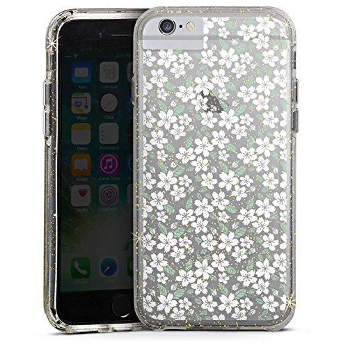 Apple iPhone 8 Bumper Hülle Bumper Case Glitzer Hülle ohne Hintergrund Blumen Midsommar Bumper Case Glitzer gold