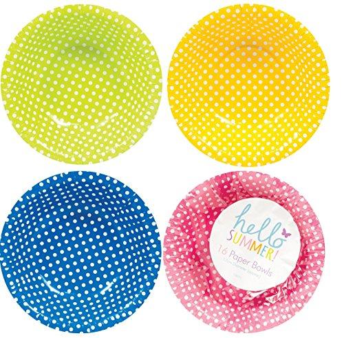 Platos de papel/cuencos/tazas/servilletas/mantel–Polka Dot- color Random- fiesta/cumpleaños 16x Paper Bowl