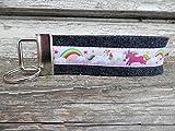 Schlüsselanhänger Schlüsselband Wollfilz schwarz grau Einhörner Regenbogen pink weiß rosa Geschenk!