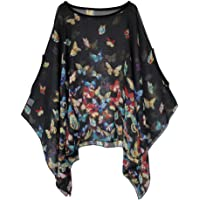 Max Hsuan Womens Ladies Baggy Oversize Plus Size Batwing Tunic Top Blouse Floral Chiffon Kaftan