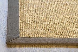 "Sisal Rug Brazil Natural Fibre Beige Mix with Brown Cotton Border, Anti Slip Back, Size 65x140 cm (2'2""x4'6"") by Steffensmeier"