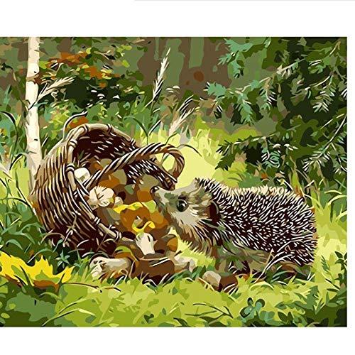 APCHYWELL Igel Tier Obstkorb Digitale Malerei Leinwand Mit Pinsel Vorgedruckt Geschenk Kunst Büro Wohnzimmer Bar Wohnkultur Kit DIY,40x50cm
