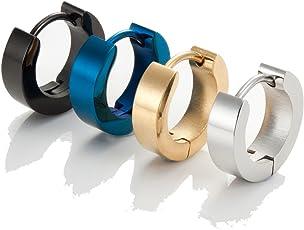 Set mit Herren 316L Edelstahl Klassische Huggie klappbar Ring Ohrringe - Inklusive 4 Paar Ohrringe für Männer - Schwarz, Blau, Gold und Silber Reifen für Männer