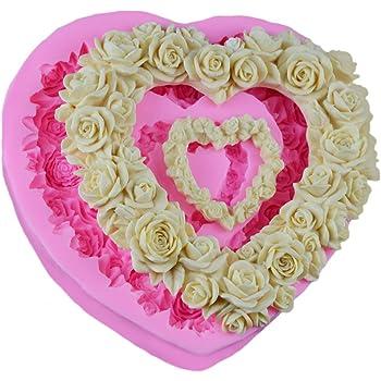 DaoRier Herzf/örmig Rose Kranz Silikon-Tassen zum Backen von Kuchen Silikon-Muffin Formen Silikonformen Backen Silikonformen,1 St/ück
