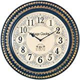 [Sponsored Products]Vintage Clock Handcrafted Brass Inlay Wooden Clock / With Hand-Hammered Brass Work / 1 Year Warranty / Non-ticking (Silent Clock) / Comes With Perfect Gift Packing