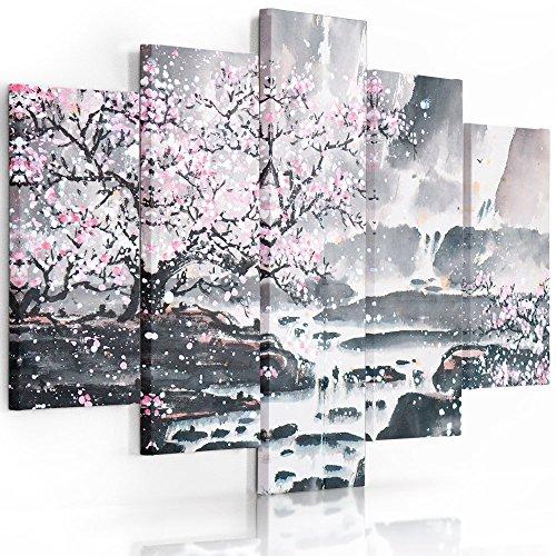 Feeby Frames, Tableau Multi Panneau 5 Parties, Tableau imprimé XXL, Tableau imprimé sur Toile, Tableau Deco, Pentaptyque (Cerisier Rose, Gris) 200x100 cm, Type A