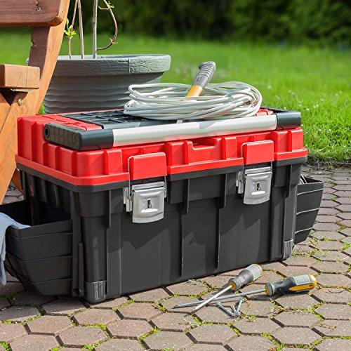 HD Trophy 3 Plus Werkzeugkoffer Box Toolbox Werkzeugkiste 595x345x355 Alugriff schwarz / rot - 6