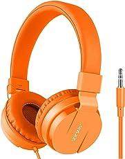 Gorsun Premium Kinderkopfhörer, Faltbare Kopfhörer für Kinder, Verstellbare Leicht-Kopfhörer für Jungen und Mädchen-Orange